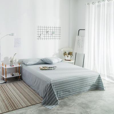 2018新款-单品花色床单 1.8*2.3m 浅蓝宽条
