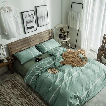 2018新款-欧麦家无印四件套 小小号床单款1.2m(4英尺)床 碧纱