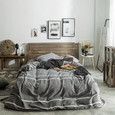 2018新款-全棉水洗棉+绒四件套 床单款1.8m(6英尺)床 千霜