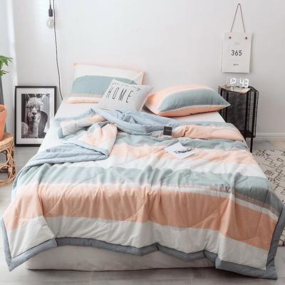 2019新款全棉色织水洗棉夏被 150x200cm 左岸光年-桔