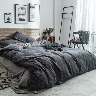 2019新款水洗棉+绒四件套 1.5m床四件套(床单款) 小灰格
