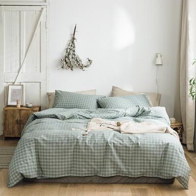 2019新款全棉水洗棉布丁系列四件套 1.2m床三件套(床单款) 罗格-绿