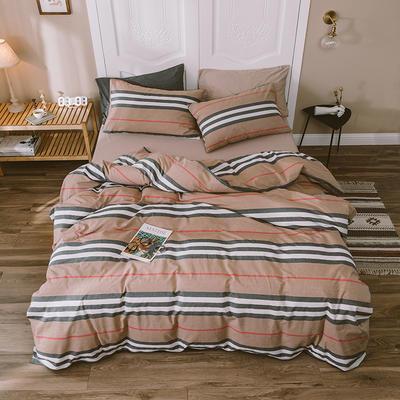 水洗棉四件套基础款新款 小小号床单款1.2m(4英尺)床 巴大条