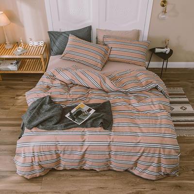 水洗棉四件套基础款新款 大号加大床笠款2.0m(6.6英尺)床 巴小条