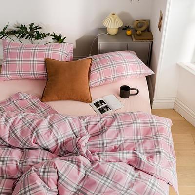 2020新款全棉色织水洗棉四件套 1.2m床三件套(床单款) 花田-粉红