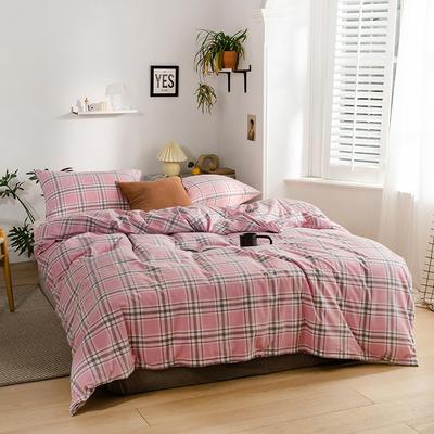 2020新款全棉色织单被套单床笠单床单单枕套 单枕套 48*74/只 花田-粉红