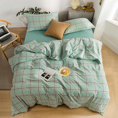 2020新款全棉色织单被套单床笠单床单单枕套 单枕套 48*74/只 花田-绿