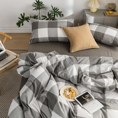 2020新款全棉色织水洗棉四件套 1.2m床三件套(床单款) 灰白-大格