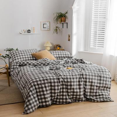 2020新款全棉色织单被套单床笠单床单单枕套 单枕套 48*74/只 灰白-三分格