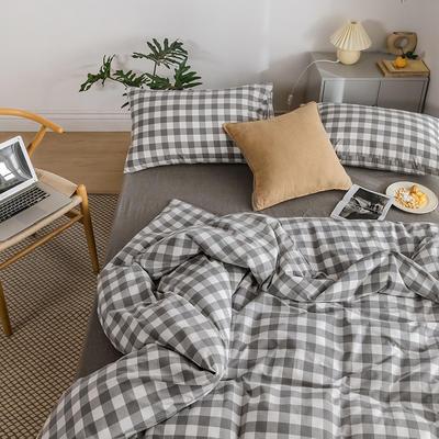 2020新款全棉色织水洗棉四件套 1.2m床三件套(床单款) 灰白-三分格