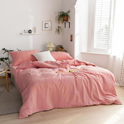 2020新款全棉色织单被套单床笠单床单单枕套 单枕套 48*74/只 梦想格-红