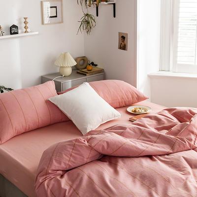 2020新款全棉色织水洗棉四件套 1.2m床三件套(床单款) 梦想格-红