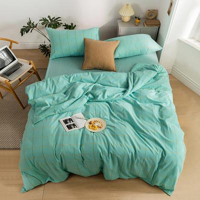 2020新款全棉色织单被套单床笠单床单单枕套 单枕套 48*74/只 梦想格-湖蓝