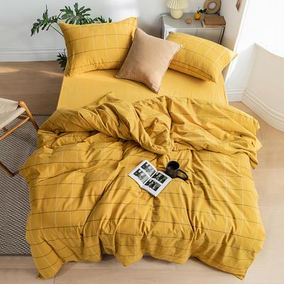 2020新款全棉色织单被套单床笠单床单单枕套 单枕套 48*74/只 梦想格-黄