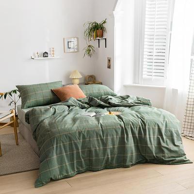 2020新款全棉色织单被套单床笠单床单单枕套 单枕套 48*74/只 梦想格-绿