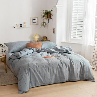 2020新款全棉色织单被套单床笠单床单单枕套 单枕套 48*74/只 梦想格-浅蓝