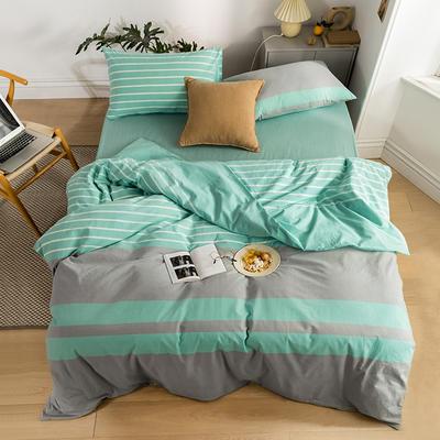 2020新款全棉色织单被套单床笠单床单单枕套 单枕套 48*74/只 梦想条-湖蓝