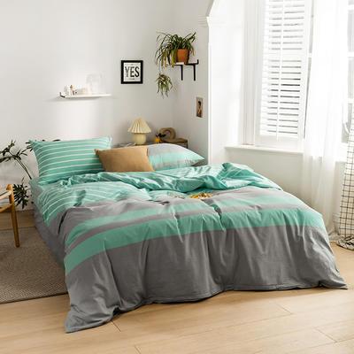 2020新款全棉色织水洗棉四件套 1.2m床三件套(床单款) 梦想条-湖蓝
