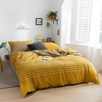 2020新款全棉色织单被套单床笠单床单单枕套 单枕套 48*74/只 梦想条-黄
