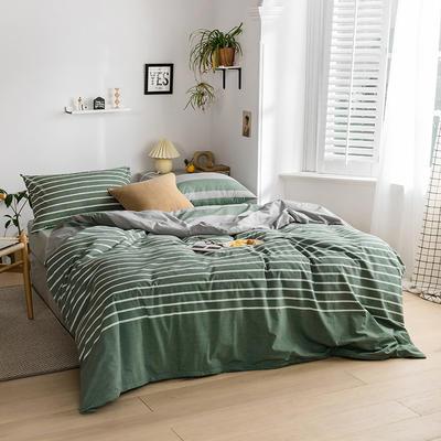 2020新款全棉色织单被套单床笠单床单单枕套 单枕套 48*74/只 梦想条-绿