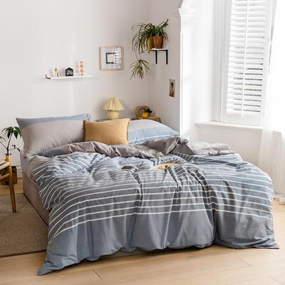2020新款全棉色织单被套单床笠单床单单枕套 单枕套 48*74/只 梦想条-浅蓝