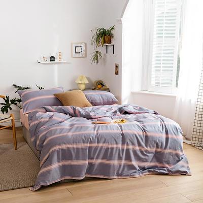 2020新款全棉色织水洗棉四件套 1.2m床三件套(床单款) 松也-桔
