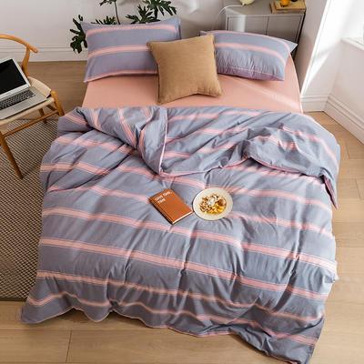 2020新款全棉色织单被套单床笠单床单单枕套 单枕套 48*74/只 松也-桔