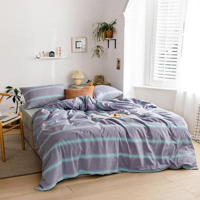 2020新款全棉色织单被套单床笠单床单单枕套 单枕套 48*74/只 松也-蓝