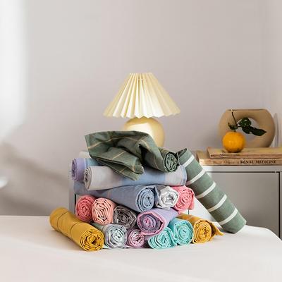 2020新款全棉色织单被套单床笠单床单单枕套 单枕套 48*74/只 花田-桔