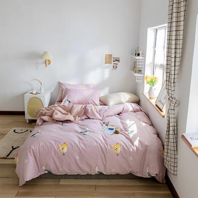2020春夏新品水洗棉印花四件套 1.2m床(床单款) 金鸡报晓-豆沙