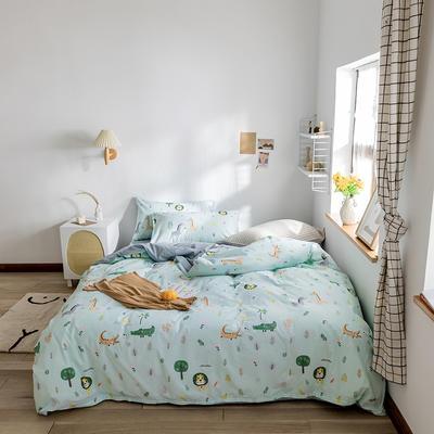 2020春夏新品水洗棉印花四件套 1.2m床(床单款) 奇妙世界-浅绿