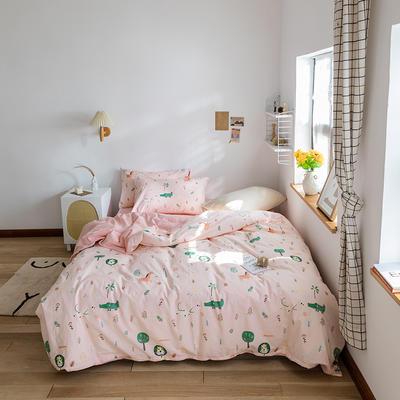 2020春夏新品水洗棉印花四件套 1.2m床(床单款) 奇妙世界-玉
