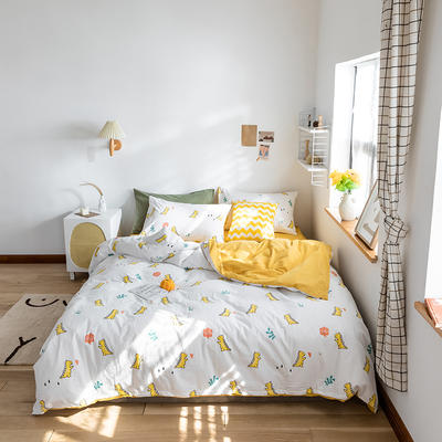 2020春夏新品水洗棉印花四件套 1.2m床(床单款) 小恐龙-黄