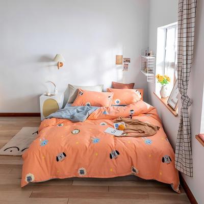 2020春夏新品水洗棉印花系列单品 单枕套(一只) 宠物联盟-桔