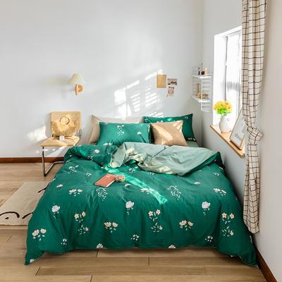 2020春夏新品水洗棉印花系列单品 单枕套(一只) 春意盎然-墨绿