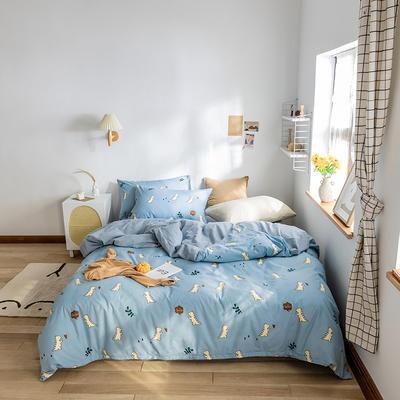 2020春夏新品水洗棉印花系列单品 单枕套(一只) 小恐龙-兰
