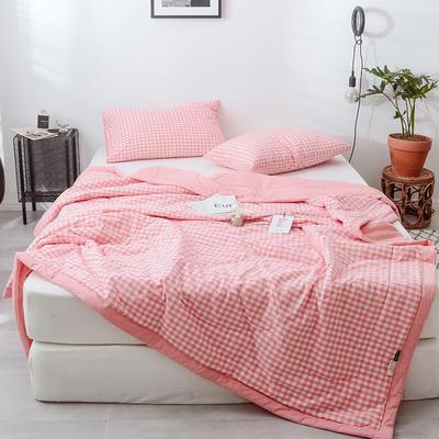 2020春夏新品色织水洗棉夏被 150x200cm 粉红小格