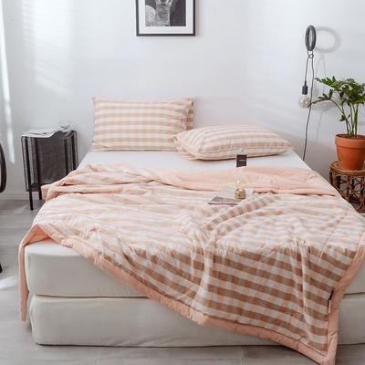 2020春夏新品色织水洗棉夏被 150x200cm 粉卡三分格