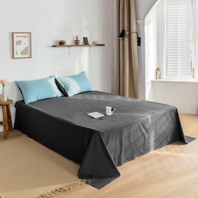 2021新款全棉色拼水洗棉四件套(单品床单) 240*250cm 天蓝+深灰