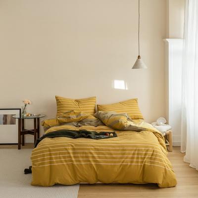 2020全棉色织水洗棉拼水晶绒四件套 1.8m床单款四件套 梦想条黄