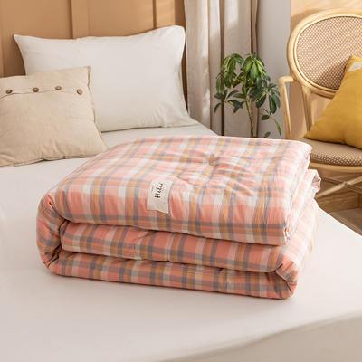 2021新款全棉色织水洗棉大豆被春秋被冬被 150*200cm4.8斤(冬被) 初春粉