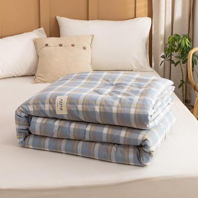 2021新款全棉色织水洗棉大豆被春秋被冬被 150*200cm4.8斤(冬被) 初春蓝