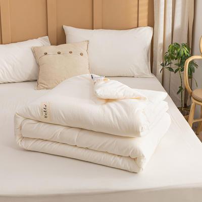 2021新款全棉色织水洗棉大豆被春秋被冬被 150*200cm4.8斤(冬被) 纯白