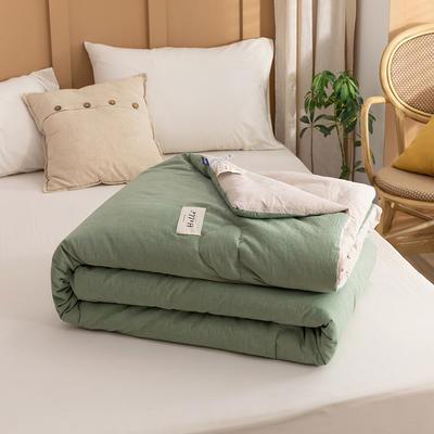 2021新款全棉色织水洗棉大豆被春秋被冬被 150*200cm4.8斤(冬被) 纯绿+米