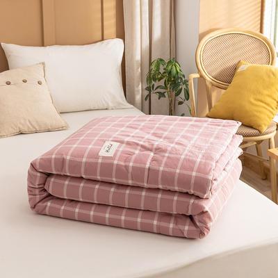 2021新款全棉色织水洗棉大豆被春秋被冬被 150*200cm4.8斤(冬被) 大麦大格粉