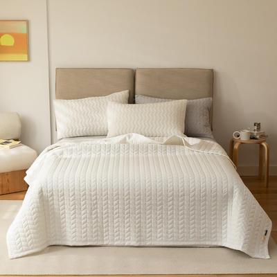 2021新款全棉色织水洗棉床盖 200*230cm 白