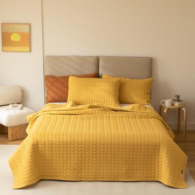 2021新款全棉色织水洗棉床盖 200*230cm 姜黄