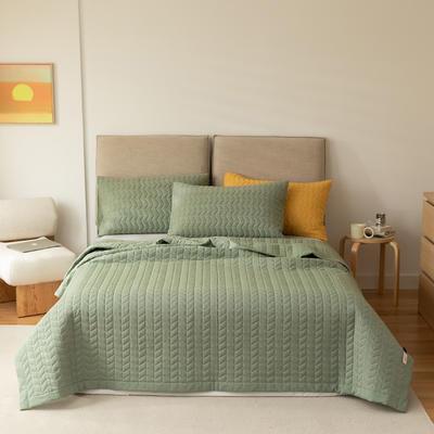 2021新款全棉色织水洗棉床盖 200*230cm 绿
