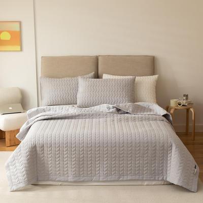 2021新款全棉色织水洗棉床盖 200*230cm 米灰