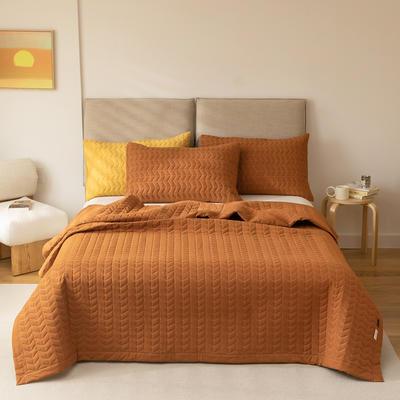 2021新款全棉色织水洗棉床盖 200*230cm 南瓜色